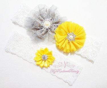Vintage Lace Frilly Flower Garter, Yellow Rhinestone toss Garter, Handmade Bridal Garters GTF0004Y