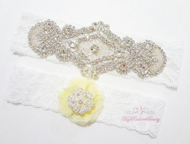 12 Colors Large Diamond within Diamond Garter, Yellow Mesh Silk Toss Garter, Wedding Garter GTA0020Y