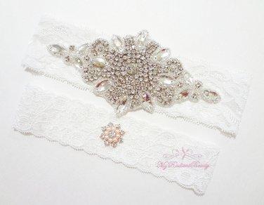 Large Diamond Bridal Garter, Wedding Garter, Rhinestone Garter, Bridal Garter, sexy Garters GTA0019