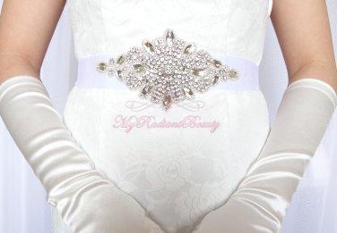 Large Diamond Shape Surround by Crystal Rhinestone Bridal Sash Belt SB0006