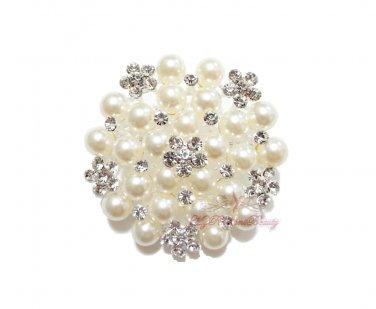 Silver Plated Ivory Pearl Clear Rhinestone Crystal Flat Brooch, Wedding Brooch, Bridal Brooch BR0020