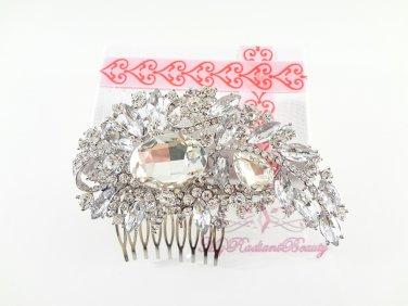 Clear Austrian Rhinestone Flower Hair Comb Tiara, Wedding Comb, Bridal Comb MyRadiantBeauty HC0023