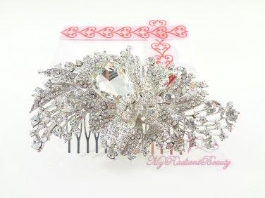 Large 4.53'' Pretty Shiny Bridal Rhinestone Comb, Wedding Comb Jewelry, Bridal Comb HC0022