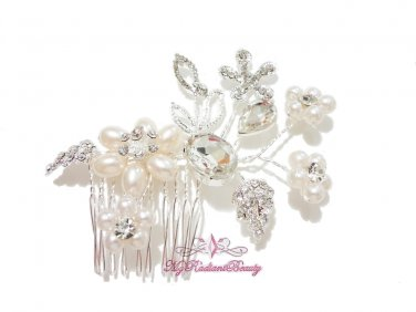 Wedding Comb, Pearl Crystal Handmade Flower Hair Comb, Rhinestone Comb, Bridal hair Comb HC0015