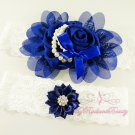 Navy Blue Chiffon Flower Garter, Rhinestone Bridal Garter, Wedding Bridal Garters GTF0003NB