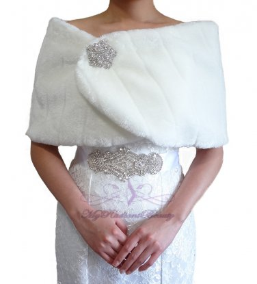 Bridal Ivory Faux Fur Mink Wrap, Wedding Stole, Bridal Wrap MW108-IVY