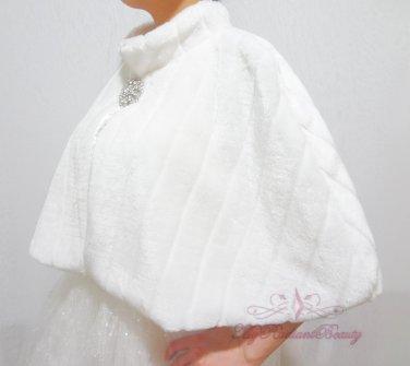 Bridal White Faux Fur Mink Cape, Wedding Stole, Bridal Cape MC108-WHI