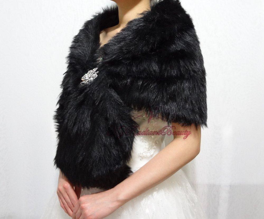Bridal Black Faux Fur Stole, Wedding Wrap, Bridal Stole FS108-BLK