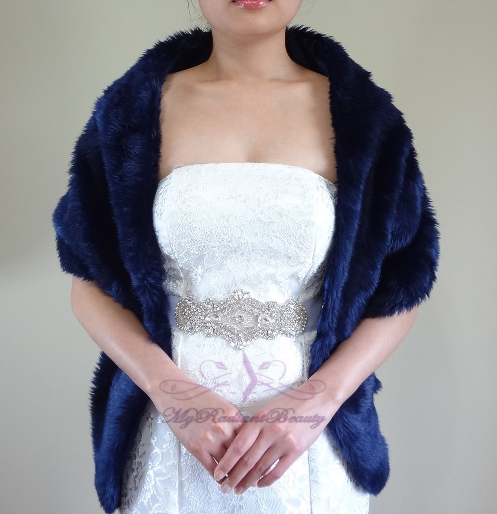 "Bridal Navy Blue Faux Fur Long Wrap, Wedding Wrap, Bridal Stole 62"" LW108-N.BLUE"