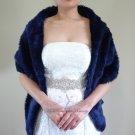 """Bridal Navy Blue Faux Fur Long Wrap, Wedding Wrap, Bridal Stole 62"""" LW108-N.BLUE"""