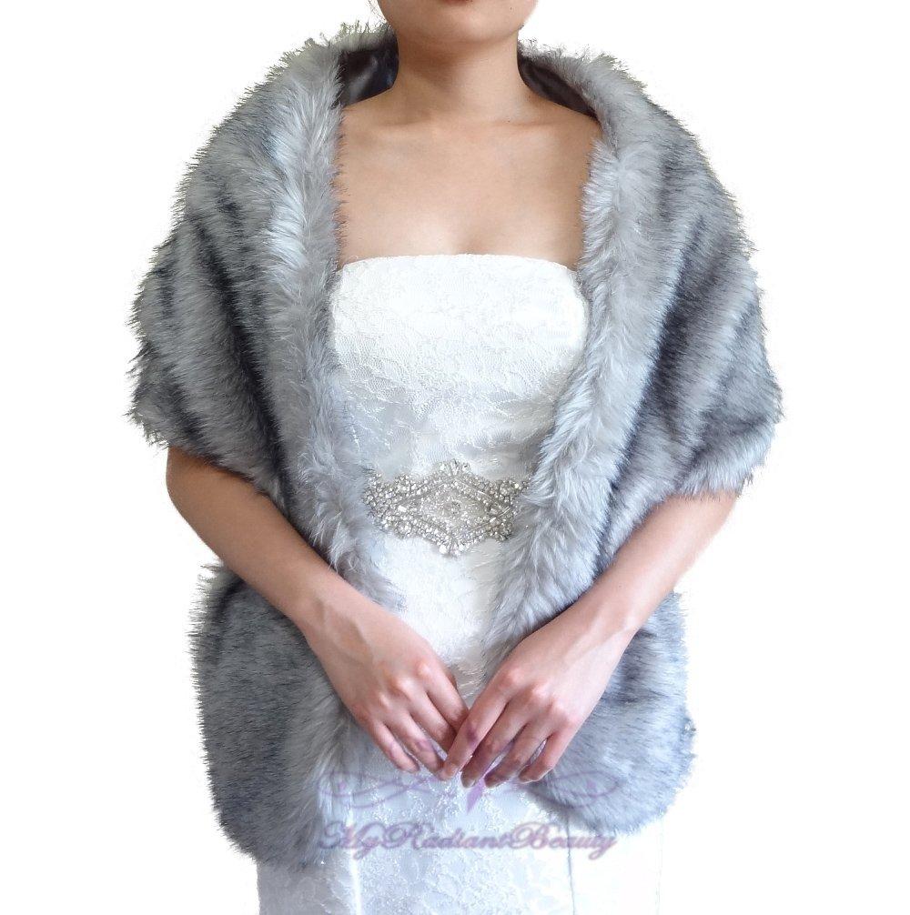 """Bridal Grey Chinchilla Faux Fur Long Wrap, Wedding Wrap, Bridal Stole 62"""" LW108-GREYCHIN"""