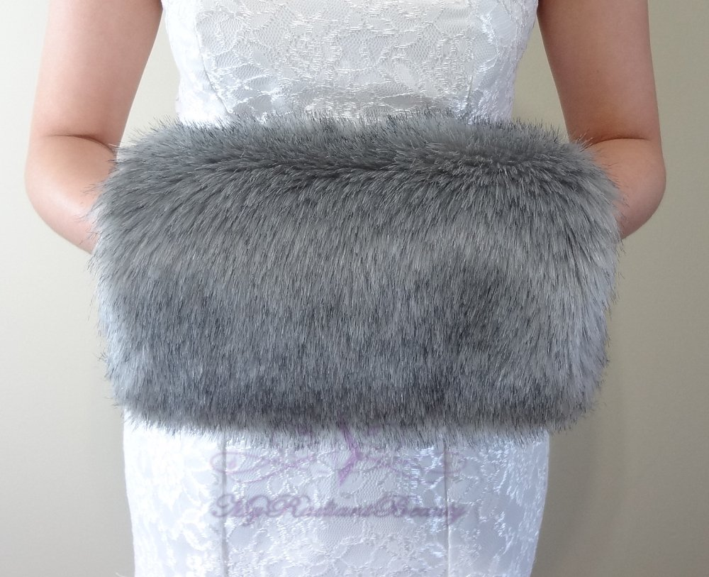Bridal Grey Chinchilla Faux Fur Hand Muff, Wedding Hand Warmer, Bridal Handmuff HM108-GREYCHIN