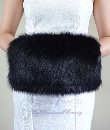 Bridal Black Faux Fur Hand Muff, Wedding Hand Warmer, Bridal Handmuff HM108-BLK