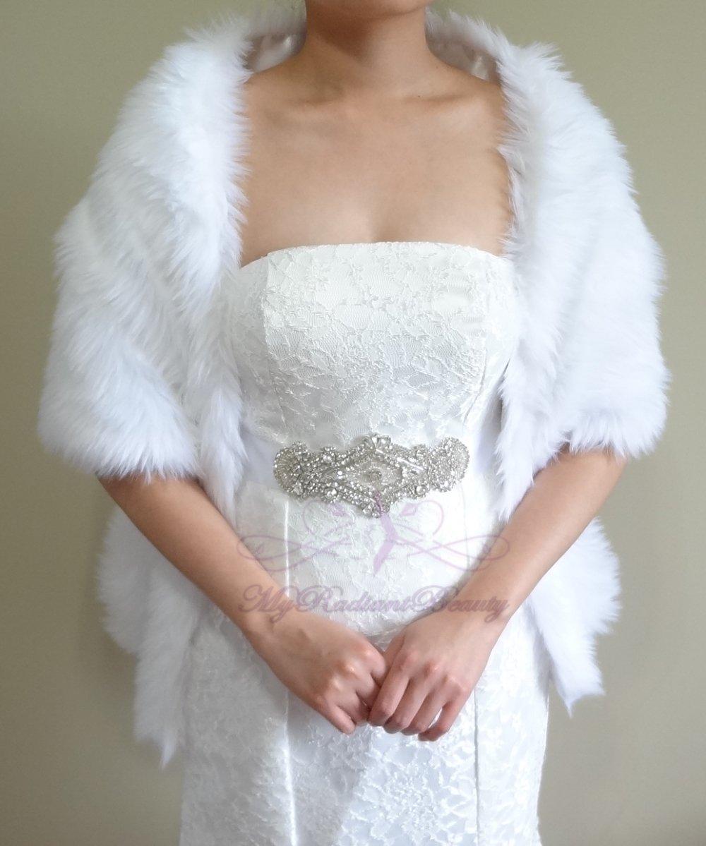 """Bridal White Faux Fur Long Wrap, Wedding Wrap, Bridal Stole 62"""" LW108-WHI"""