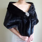 Bridal Black Faux Fur Stole, Wedding Wrap, Bridal Stole FS108-BLKs