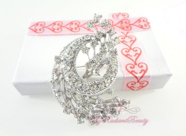 Flower Brooch pin, Lots of sparkly Rhinestone Crystal and vintage look, Bridal Brooch BR0018