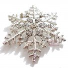 Christmas Snowflake Brooch Silver Crystal BR0014