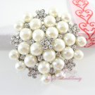 Bridal Brooch Silver Tone Ivory Faux Pearl BR0009