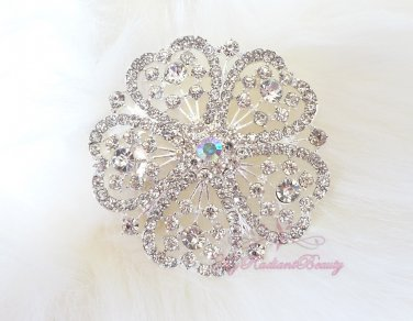 Bridal Large Rhinestone centered with 5 hearts shaped surrounding Brooch BR0008