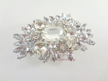 Large Glass Stone and Rhodium Silver Plated Bridal Brooch Pin BR0005