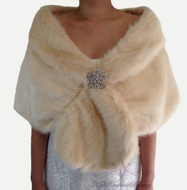 Bridal Champagne Faux Fur Stole, Wedding Wrap, Bridal Stole FS108-CPN