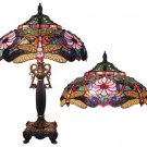 "NIB Handcrafted Tiffany Style Dragonfly Stained Glass Table Lamp w/ 19"" Shade"