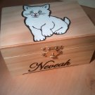 "rare hand made collectible "" fluffy cat "" trinket box, womens jewelry box, gift, present"