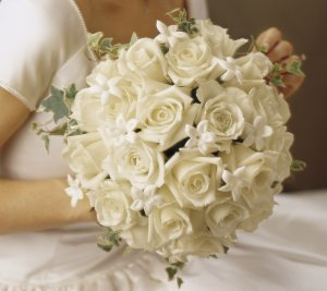 White roses & Stephanotis