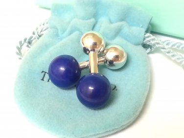TIFFANY AND CO. ` LAPIS LAZULI BARBELL CUFF LINKS ~ THE APHRODISIAC OF THE ROMANS ~ MINT !!!