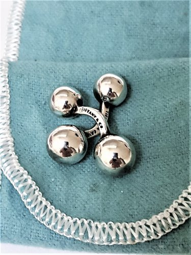 TIFFANY AND CO, CUFF LINKS ~ BARBELL STYLE ~ BOX AND POUCH ~  UNIQUE ~ PRISTINE !!