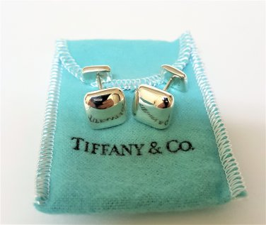 TIFFANY AND CO. CUFF LINKS ~ SQUARE BUTTON - CUSHION ~ 925 STERLING ~ BOX AND POUCH ~ EXCELLENT !!!