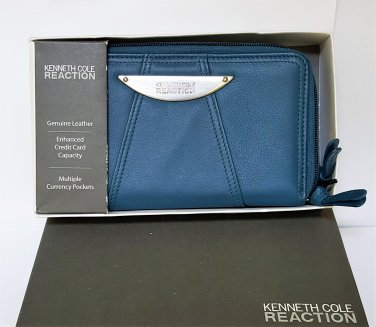 KENNETH COLE REACTION LEATHER ZIP AROUND WALLET ~ TEAL ~ NIB