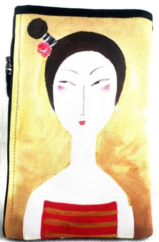 iPurse® Hand Painted on silk-Tai Tai Red-Pouch/Wallet/ Phone case/evening purse