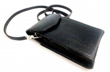 iPurse® Genuine Black Lizard Leather Phone case/Wallet/Evening purse