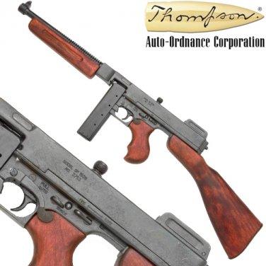 Thompson Machine Gun Tommy Military Model WWII Prop Non-Firing Wood Metal