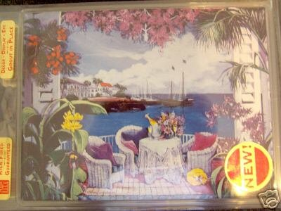 NEW 8'' X 6'' Painted Tile --Tropical Scene Cafe Table