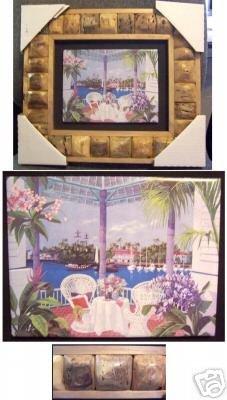 15' X 13' Framed Painted Tile--Gazebo, Water Scene