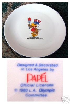 Sam the Olympic Eagle 1984 LA USA Olympics Torch Plate