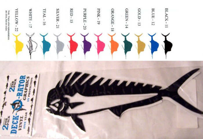 Dolphin Fish Vinyl  Decal 2 pack in Silver
