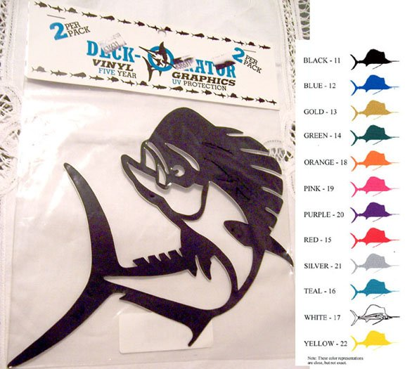 Jumping Dolphin Fish Vinyl Decal 2 pack White
