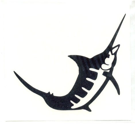 Marlin Single Jumping Vinyl Decal Right Facing Silver