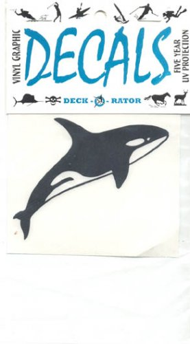 Whale Single Right Facing Vinyl Decal Black