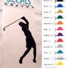 Female Golfer Vinyl Decal Silver Large