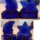 Blue Star and Blue Moon glass tea light candle holders