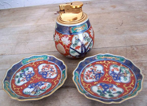 Porcelain lighter and 2 ashtrays made in Japan