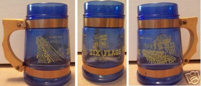 Blue Glass Six Flags over Mid-America Beer Stein