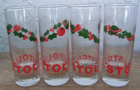 Set of 4 tall Stoli holiday shot glasses