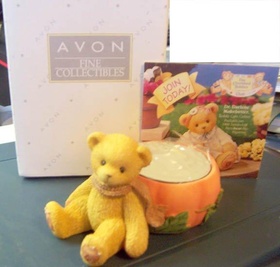 Avon Collectible Cherished Teddies  #470333 Pumpkin Bear Tea Light