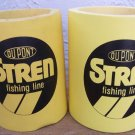 2 Du Pont Stren Fishing Line yellow can koozies