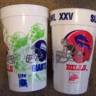 2 Super Bowl XXV Tampa FL plastic beer soda cups